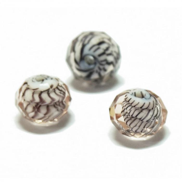 Perle facettée en verre rose clair et brun 7mm x1