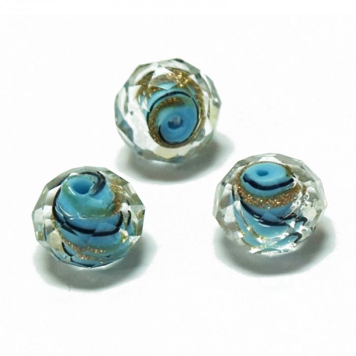 Perle facettée en verre bleu, noir et doré 7mm x1