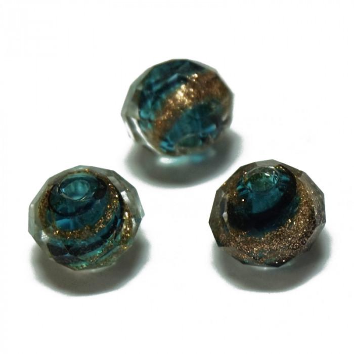 Perle facettée en verre vert foncé, doré et noir 7mm x1