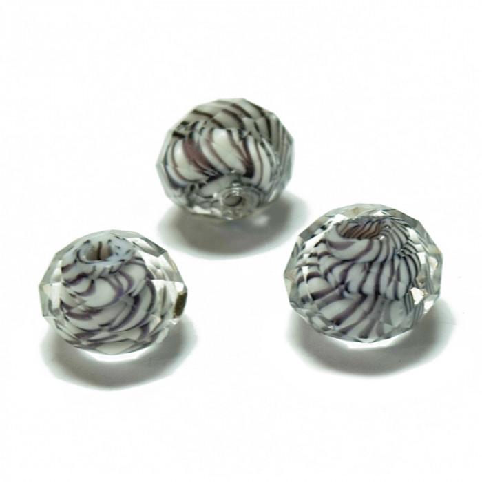 Perle facettée en verre blanc et brun 7mm x1