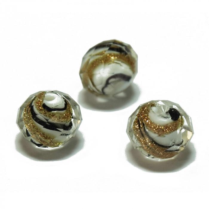 Perle facettée en verre blanc, noir et doré 7mm x1