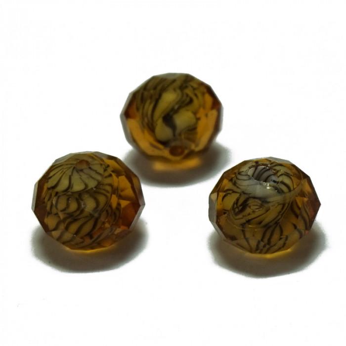 Perle facettée en verre orange et brun 7mm x1