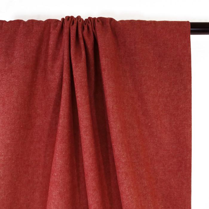 Tissu toile de coton - rouge x 10 cm