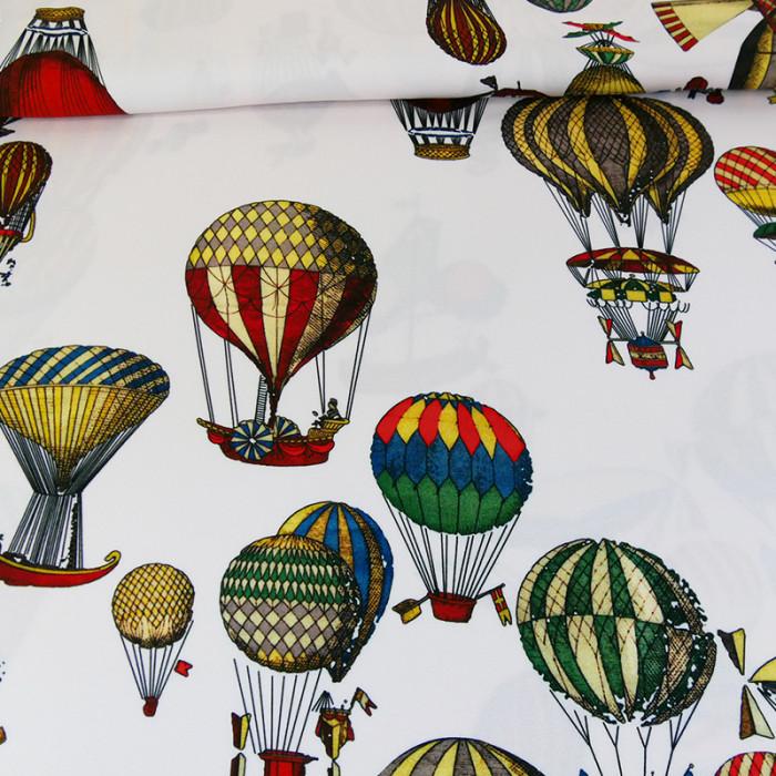 Tissu viscose montgolfières Fornasetti - blanc x 10 cm