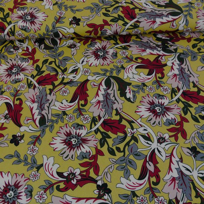 Tissu crêpe viscose fleurs - ocre x 10 cm