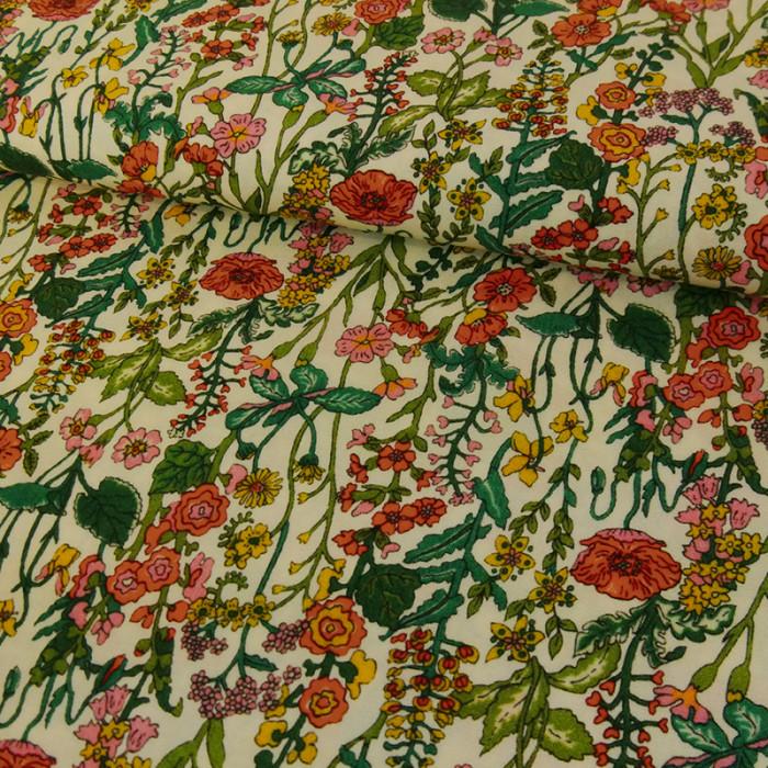 Tissu viscose élasthanne fleurs x 10 cm