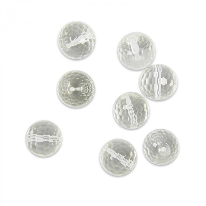 Perle ronde en cristal de roche transparent à facettes - 4 à 18mm x1