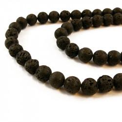 Perle roche volcanique noire 14mm