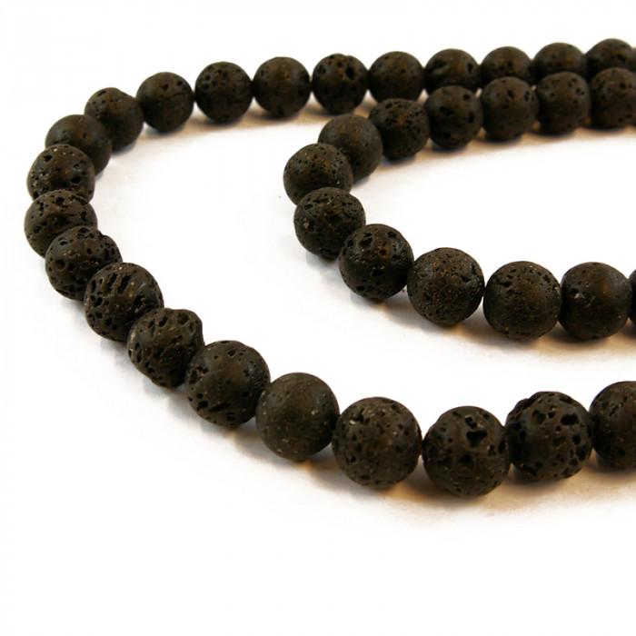 Perle roche volcanique noire x1