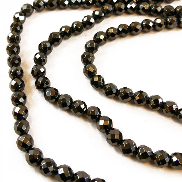 Perle hématite facettée 3 à 9mm x1