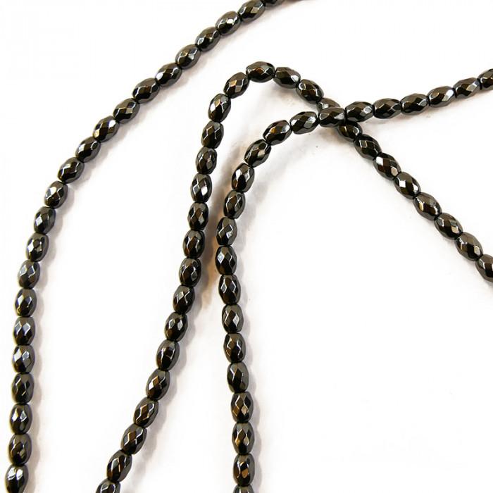 Perle ovale hématite facettée 5 à 7mm x1