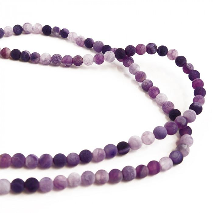 perle agate teintée 6 à 8 mm violet x1