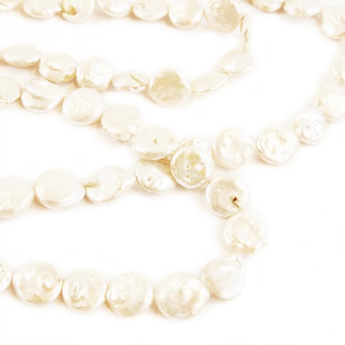 Perle plate en nacre 13mm