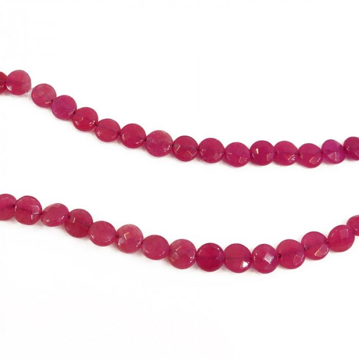 Perle agate teintée plate à facettes 8 mm rose x1