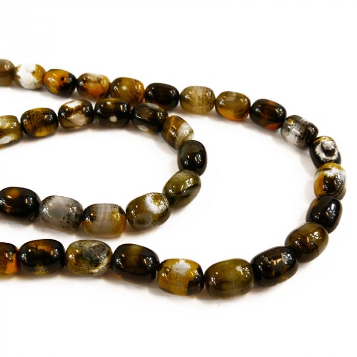 Perle allongée agate teintée jaune et noire 14mm x1