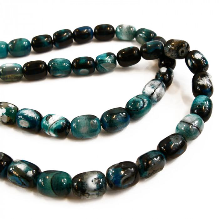 Perle allongée agate teintée bleue et noire 14mm x1