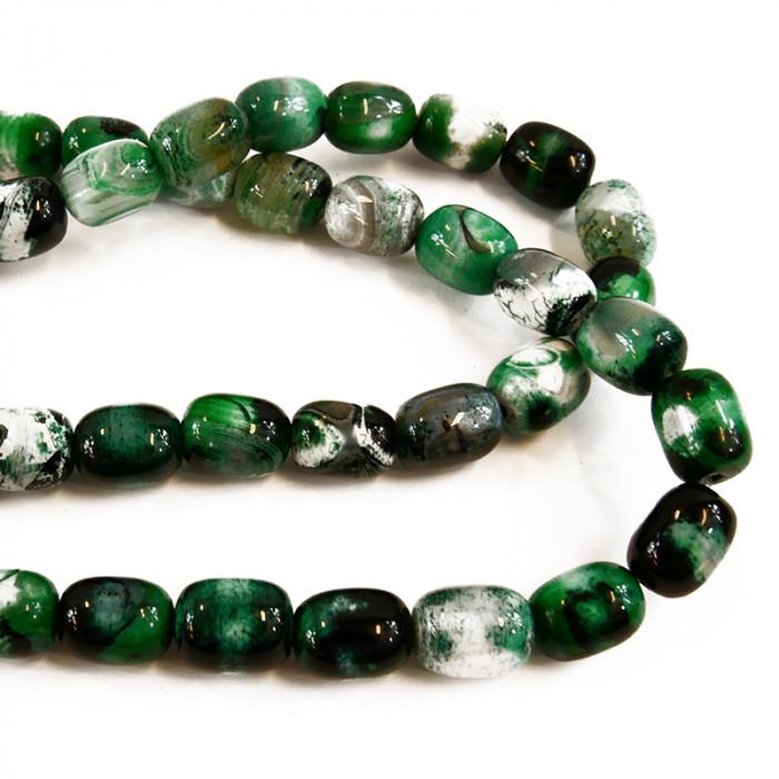 Perle allongée agate teintée verte et noire 14mm x1