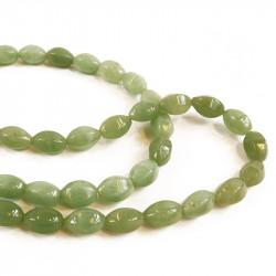 Perle ovale jade à facettes 15 mm
