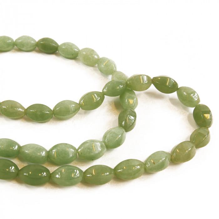 Perle ovale jade à facettes 15 mm x1