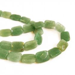 Perle plate rectangulaire jade à facettes 16 mm