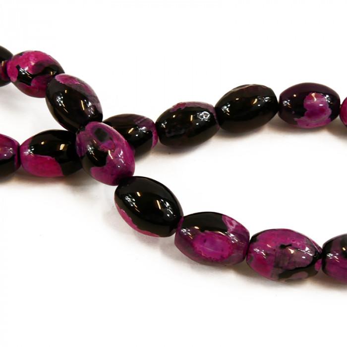 Perle allongée agate teintée rose et noire 16mm x1