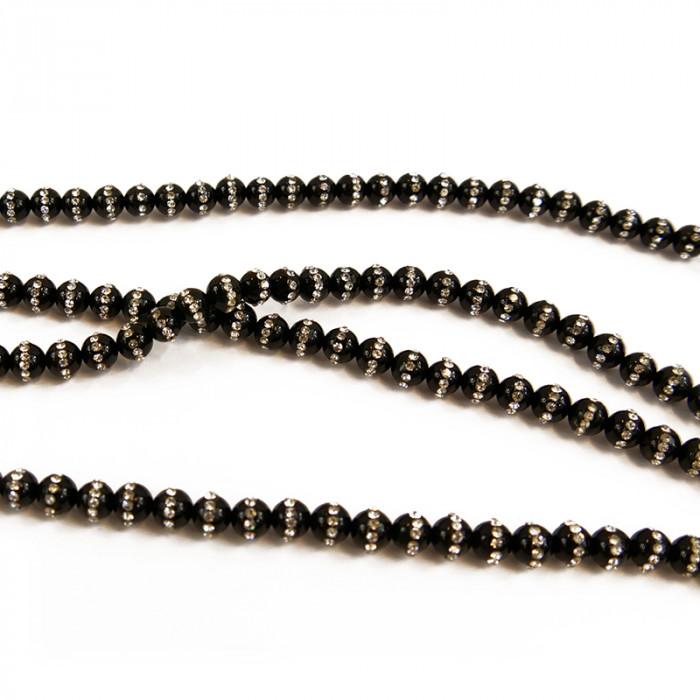 Perle onyx et strass 6 à 8 mm x1
