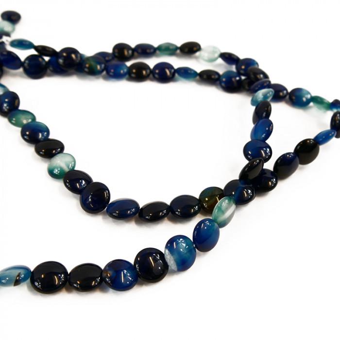 Perle pastille agate teintée bleue 10mm x1