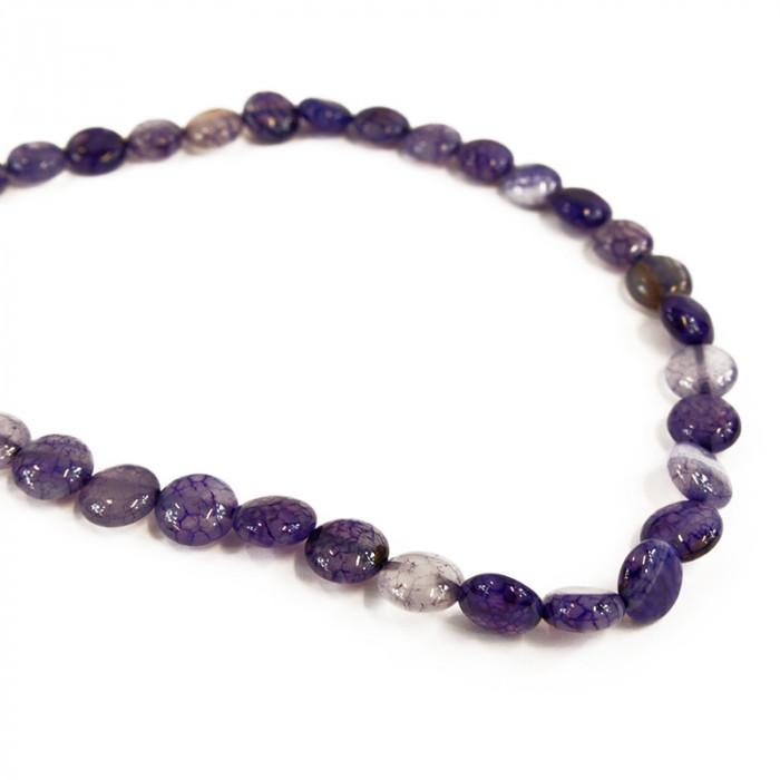Perle pastille agate teintée violette 10mm x1