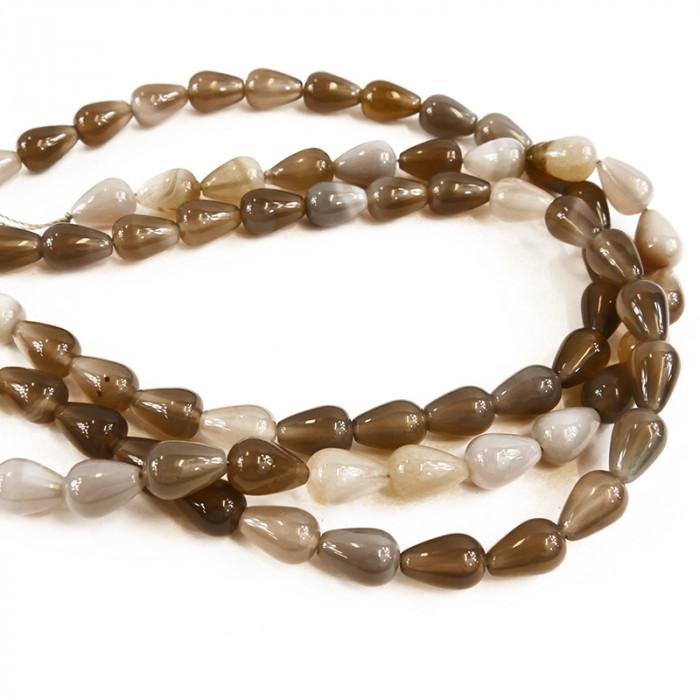 Perle goutte agate teintée gris/taupe 15mm x1