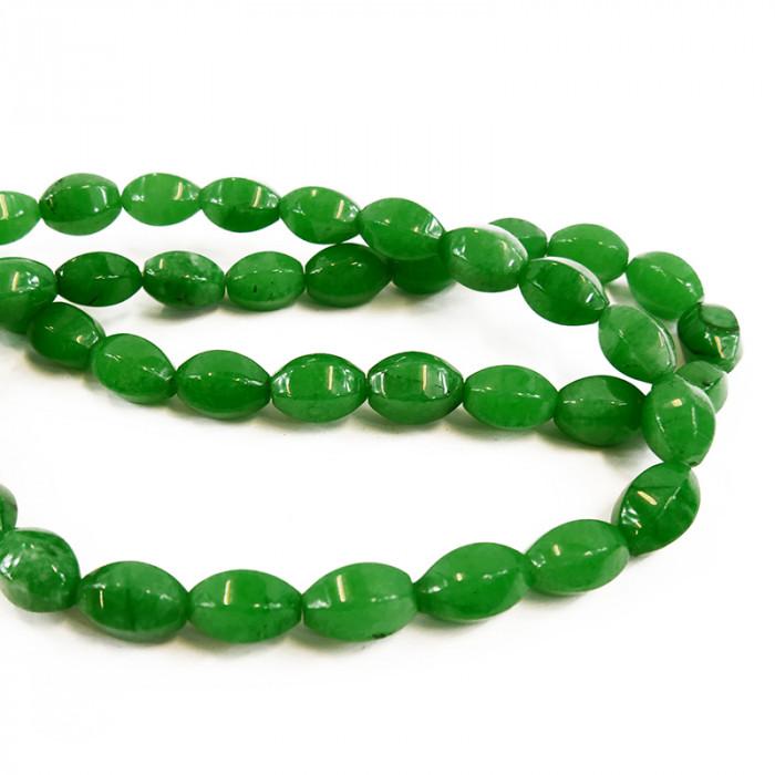 Perle ovale agate teintée verte à facettes 15 mm x1