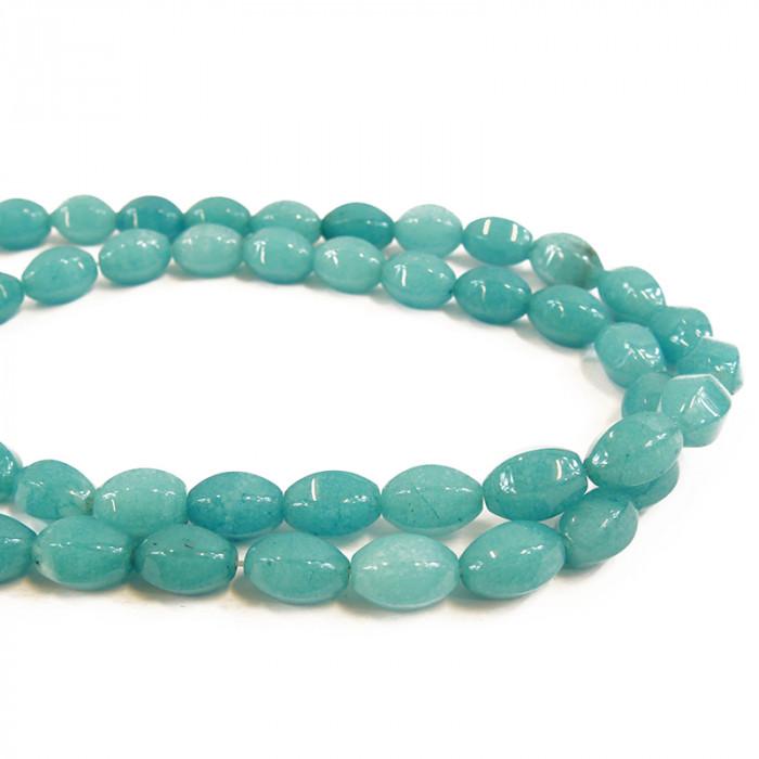 Perle ovale agate teintée bleue à facettes 15 mm x1
