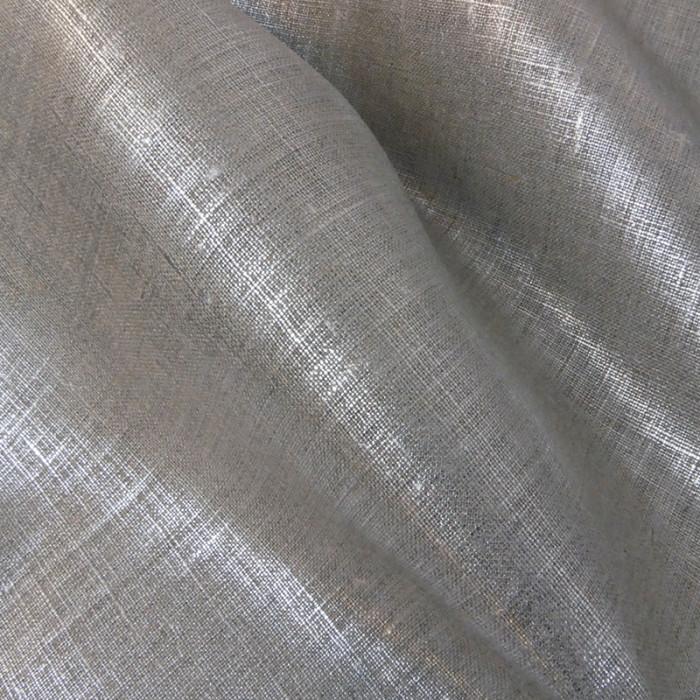 Tissu lin lamé - Argenté x 10 cm