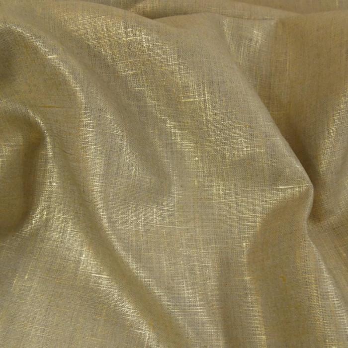 Tissu lin lamé - Doré x 10 cm