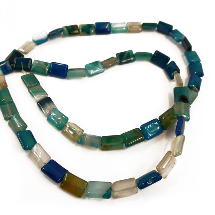 Perle plate agate teintée bleue rectangulaire 15 mm  x1