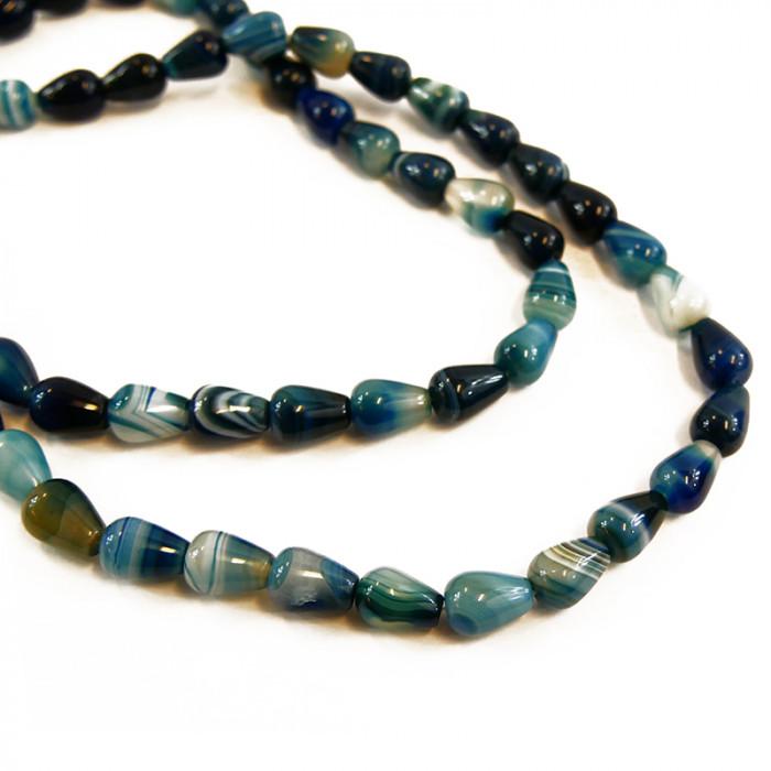 Perle goutte agate teintée bleue 14 mm  x1
