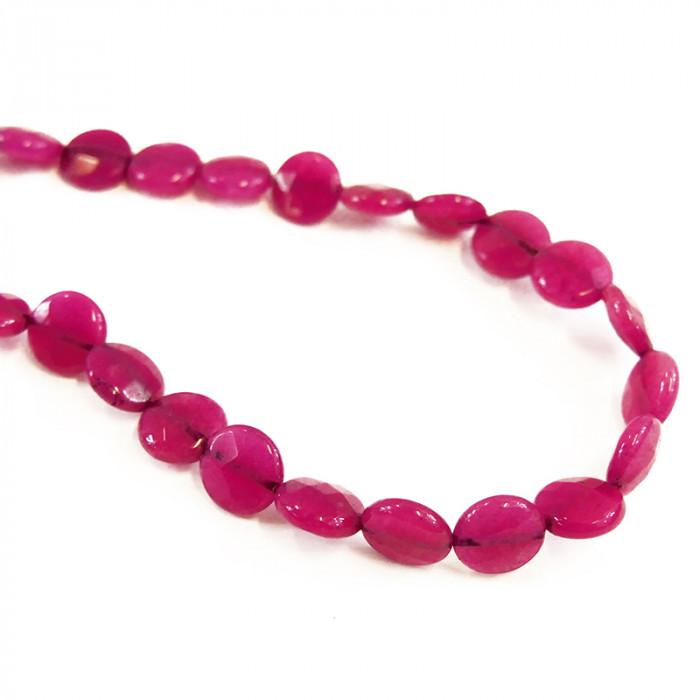 Perle pastille agate teintée rose à facettes 12mm x1