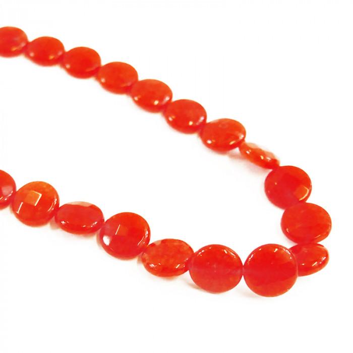 Perle pastille agate teintée orange à facettes 12mm x1