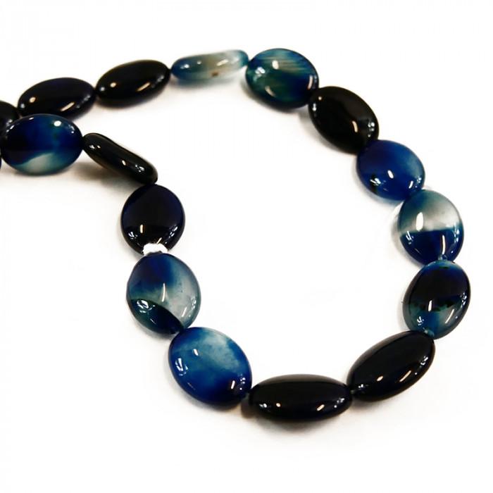 Perle pastille ovale agate teintée bleue 18 mm x1