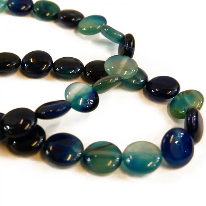 Perle pastille agate teintée bleue 14 mm x1