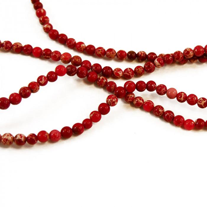 Perle jaspe rouge empereur 4 à 12mm x1
