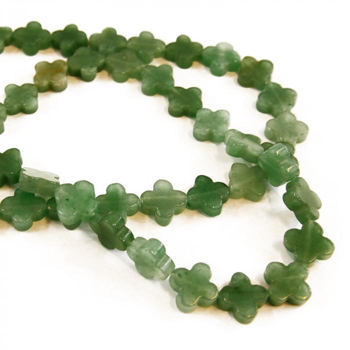 Perle trèfle en jade 14mm x1