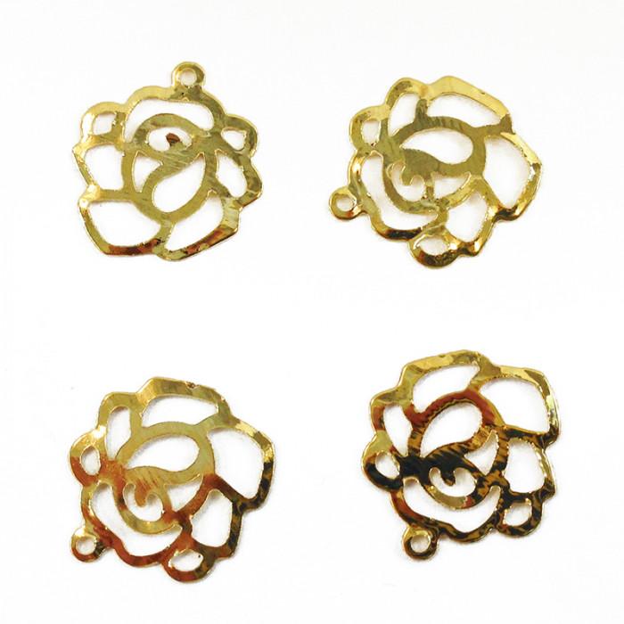 Breloque fleur 14mm doré x1