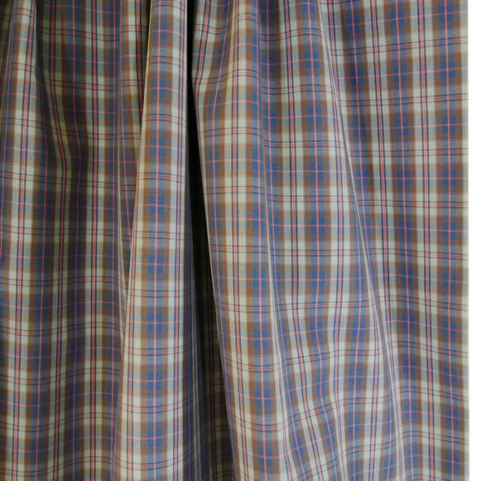 Tissu coton carreaux - bleu rose x 10 cm