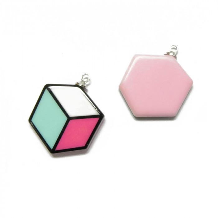 Pendentif résine cube couleurs pop x1