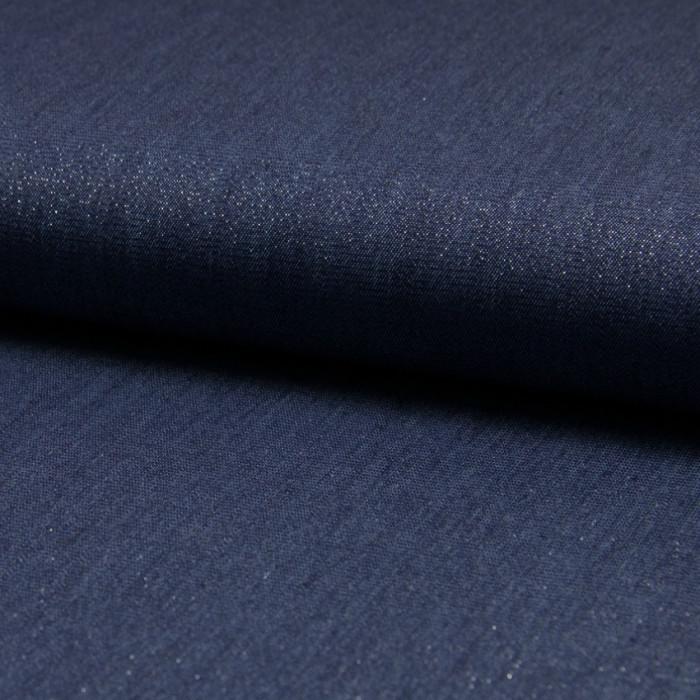 Tissu chambray brillant - bleu x 10 cm