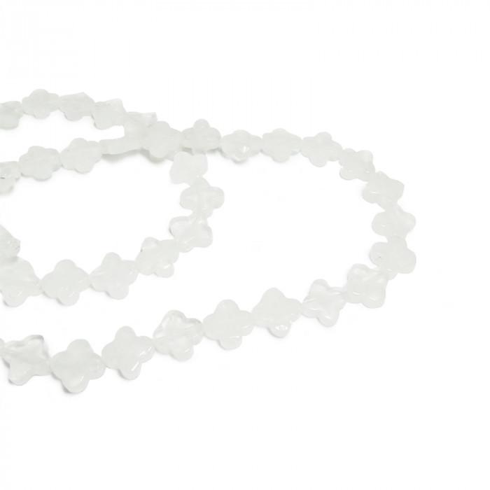 Perle cristal de roche en forme de trèfle 14mm x1