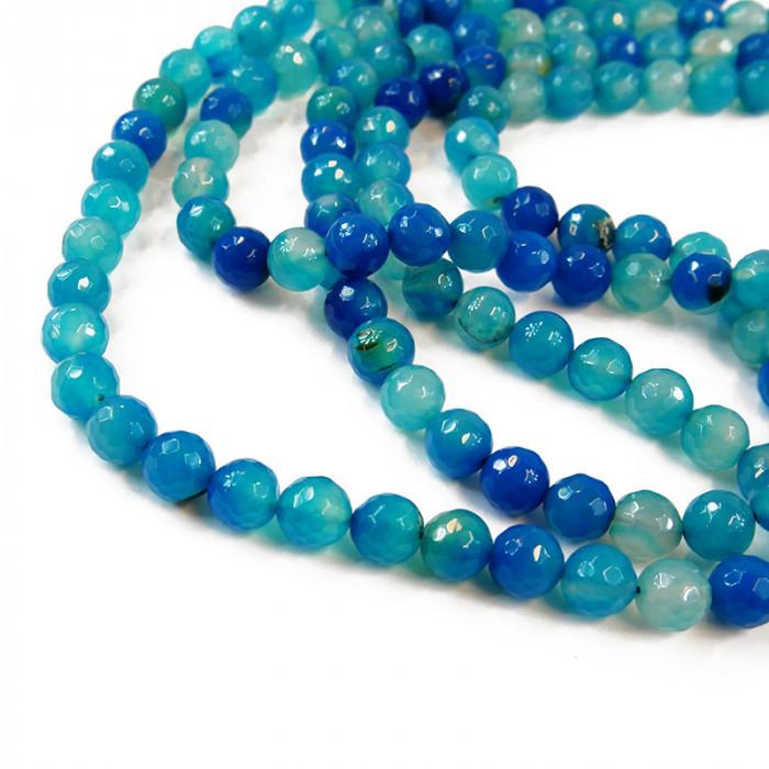 Perle agate facettée 14 mm bleu/vert x1