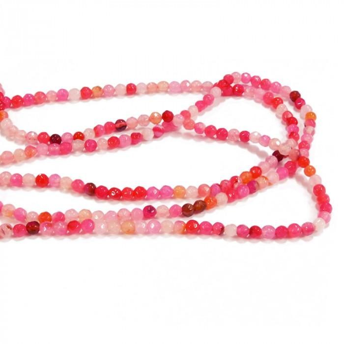 Perles agate facettée 4 mm x95 - 5 couleurs au choix