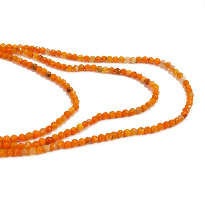 Perles agate facettée 4 mm orange