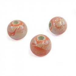Perle en céramique à motifs ronde rose 12mm x1